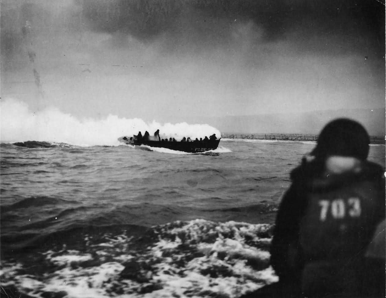 1st Battalion Troops in LCVP Approach Omaha Beach on D-Day 1944