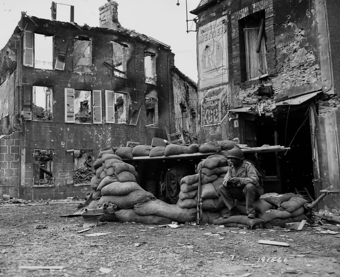 1st Infantry Division 57 mm Anti Tank Gun in Bunker Caumont-l'Éventé Normandy 1944