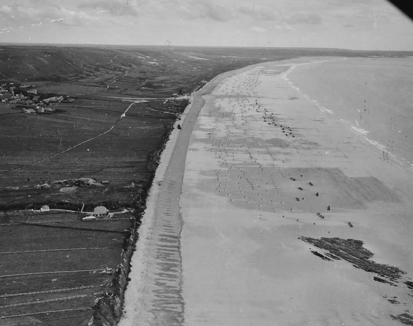 Aerial View Of German Beach Defenses In Normandy Summer 1944