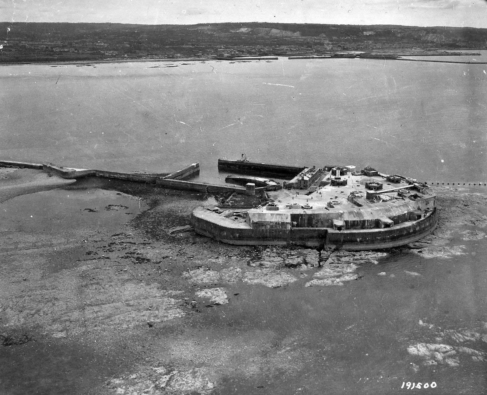 Aerial view of Cherbourg Fort June 1944