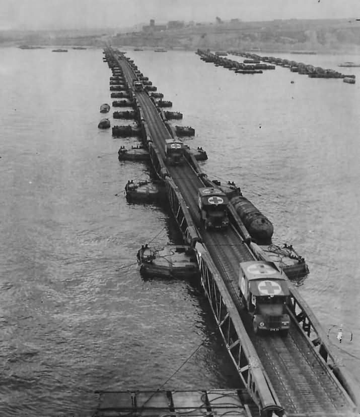 Ambulances Ferry Wounded over Mulberry Harbor near Arromanches Normandy 1944