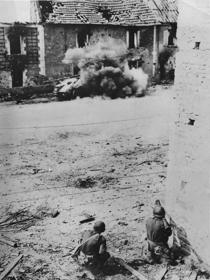 American Soldiers Blast German Tank with Bazooka in Normandy 1944