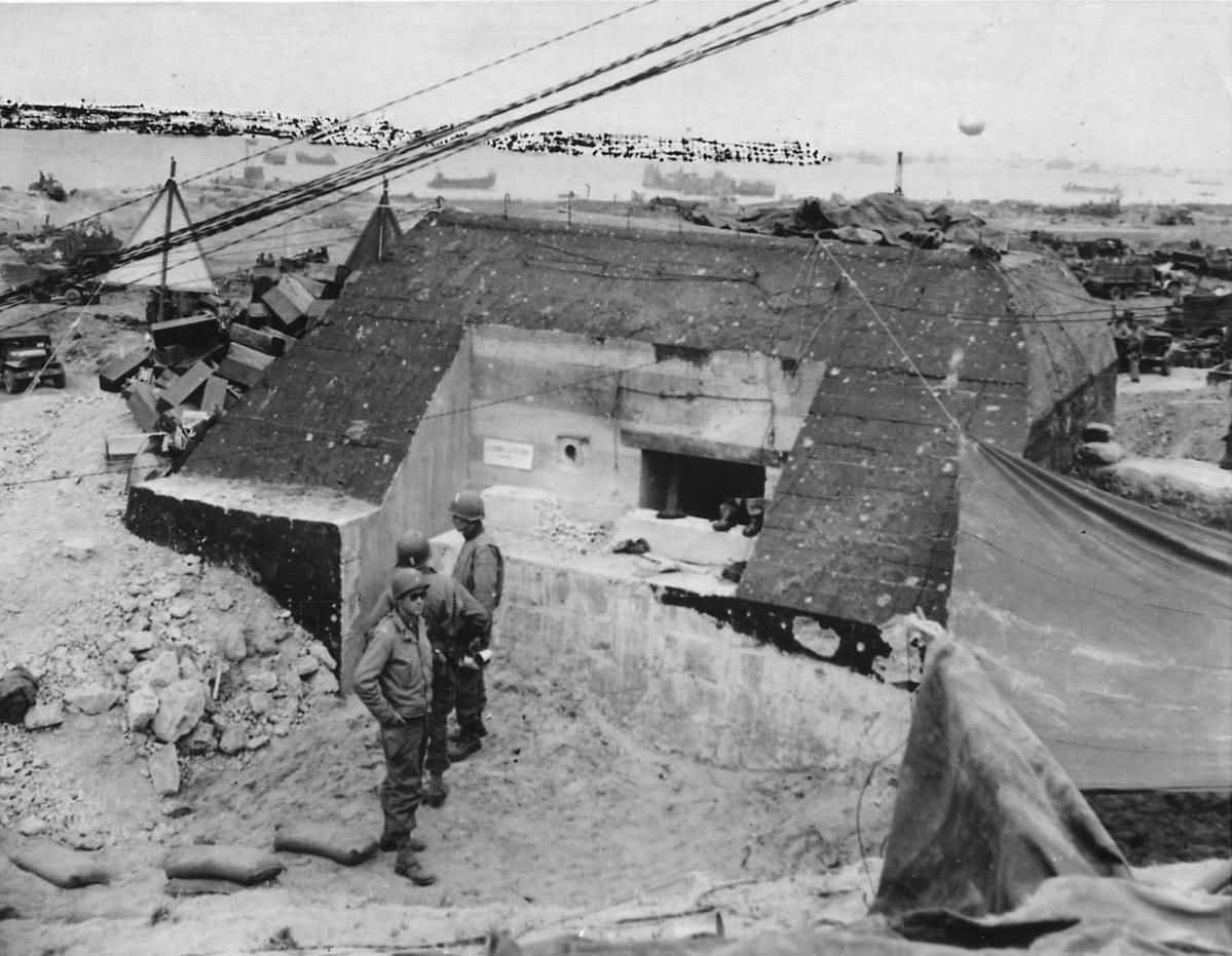 """American Soldiers at German Pillbox """"Le Ruquet"""" on D-Day's Omaha Beach Normandy 1944"""