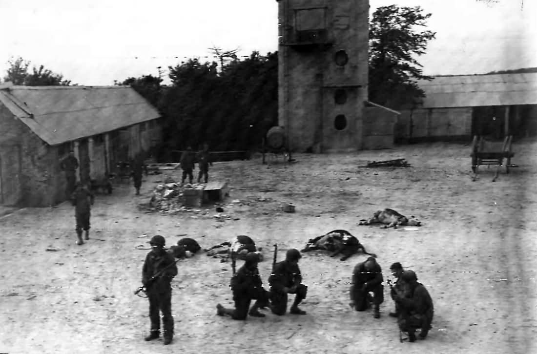 American Troops Clear German Soldiers from Farm near Utah Beach 1944 Normandy