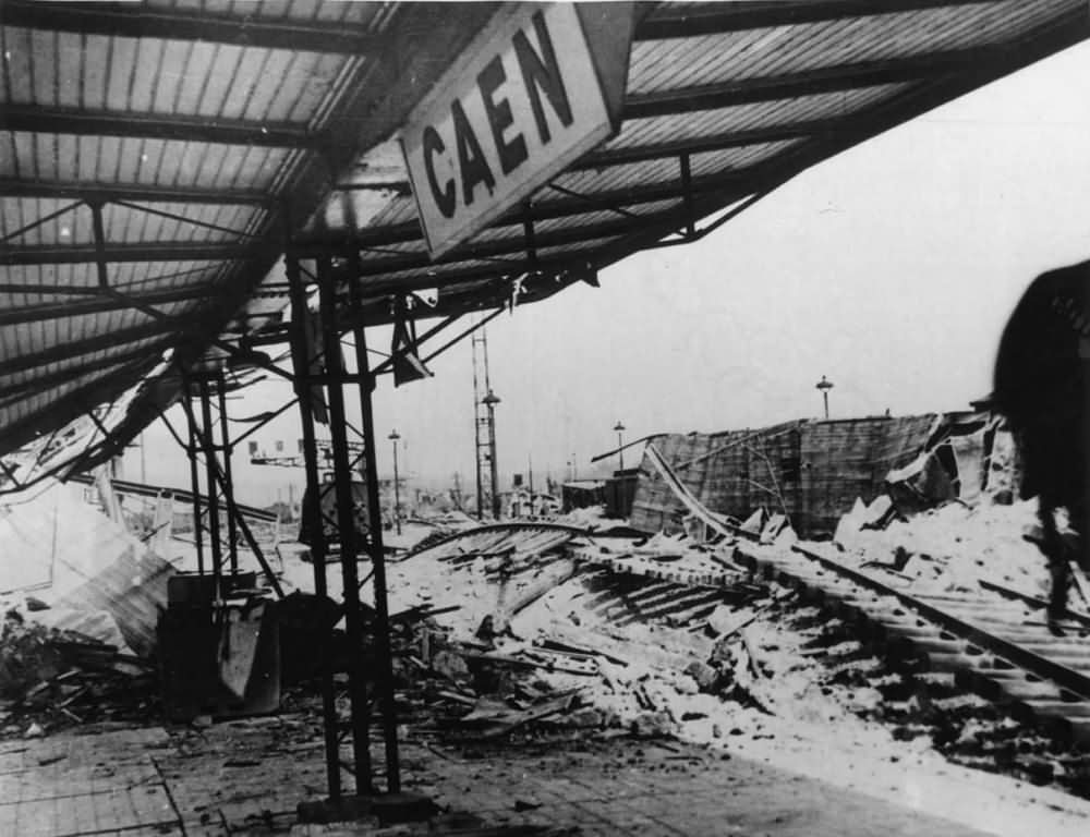 Bombed Ruins of Railway Station in Caen France Normandy 1944