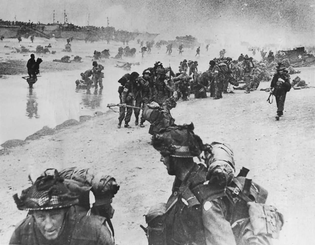 British Troops On Normandy Beach D-Day 1944