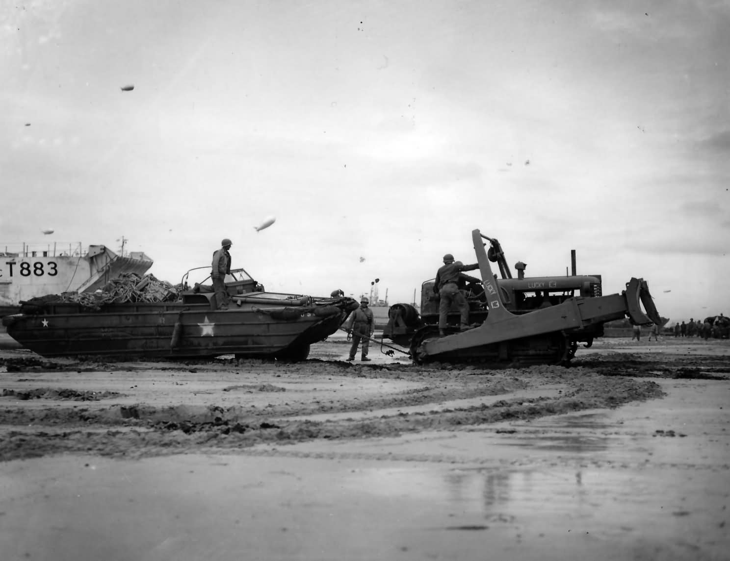 Bulldozer Pulling DUKW Duck D Day Beach Normandy 1944