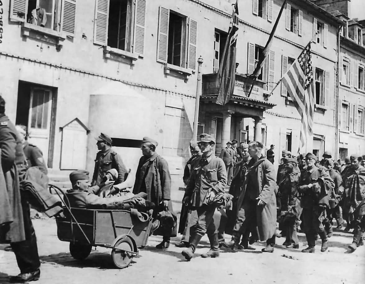 Captured German Soldiers March through Cherbourg 1944