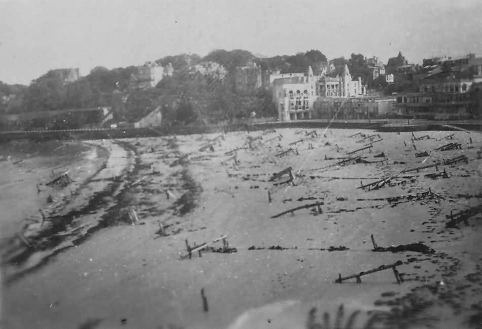 D Day Beach With Obstacles And Debris Normandy June 1944
