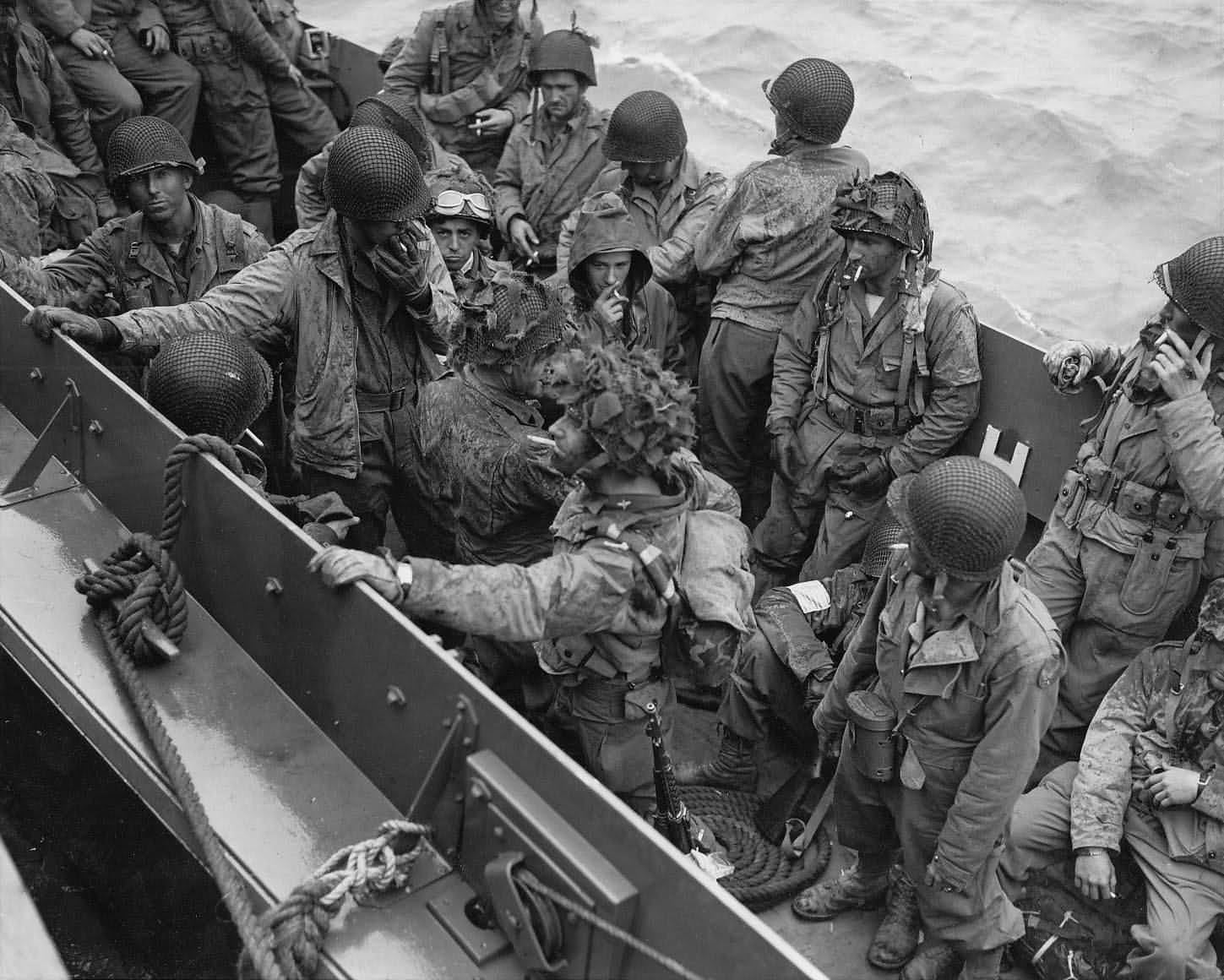 D-Day Invasion Glider Pilots On Landing Craft Return 1944