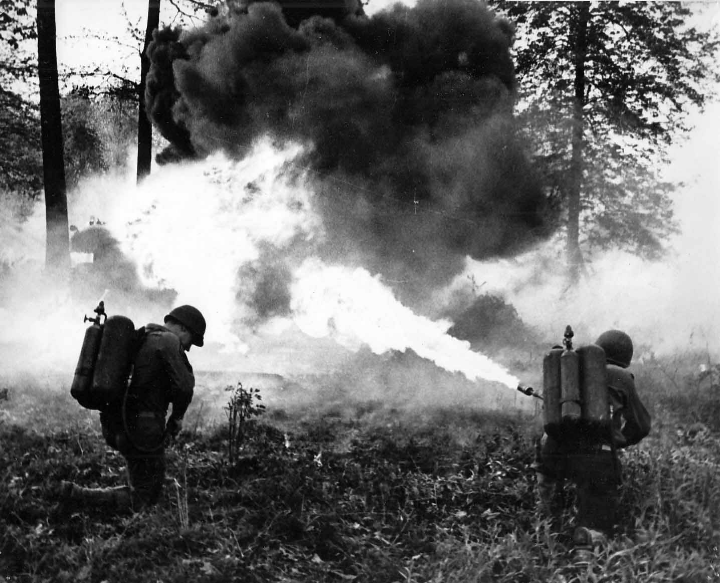Flame throwers training in England before D-Day 1944