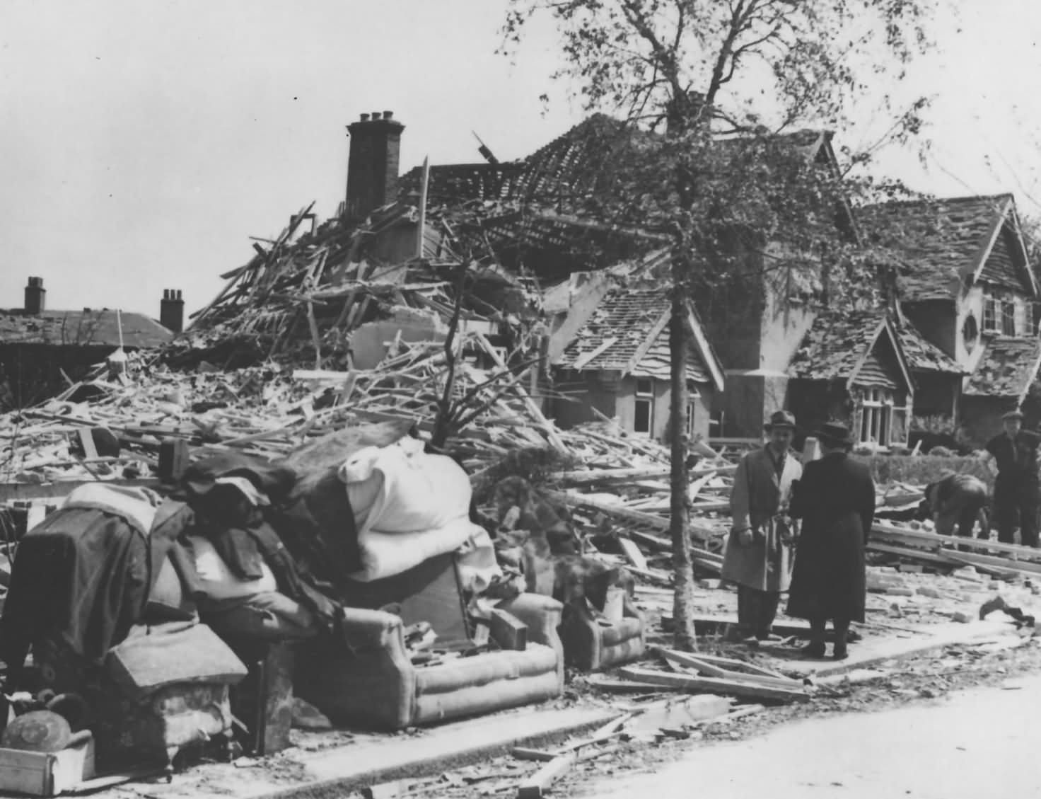 French Destruction of Homes by Bombs Normandy 1944