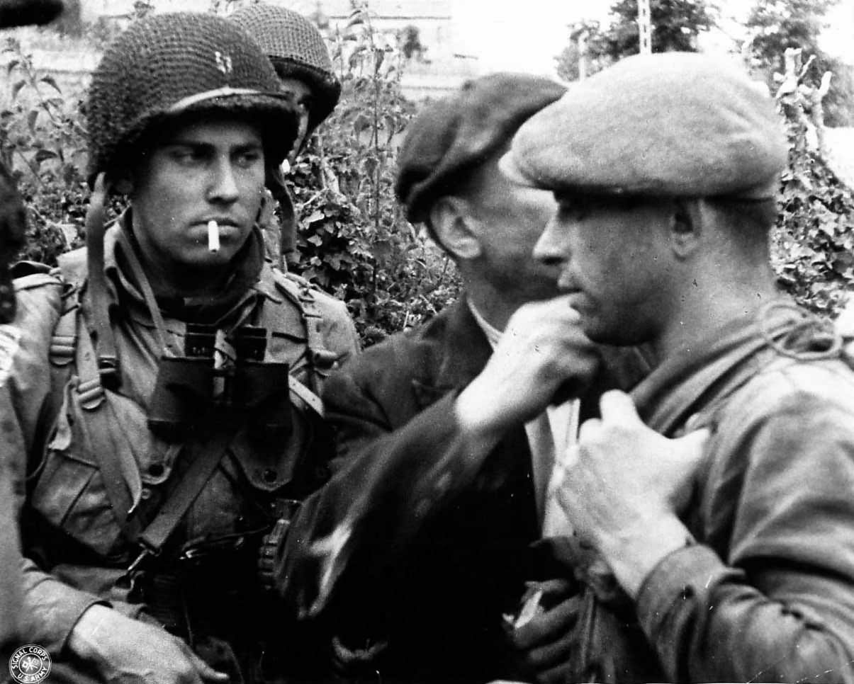 French Resistance Fighters with US Paratroopers in Normandy