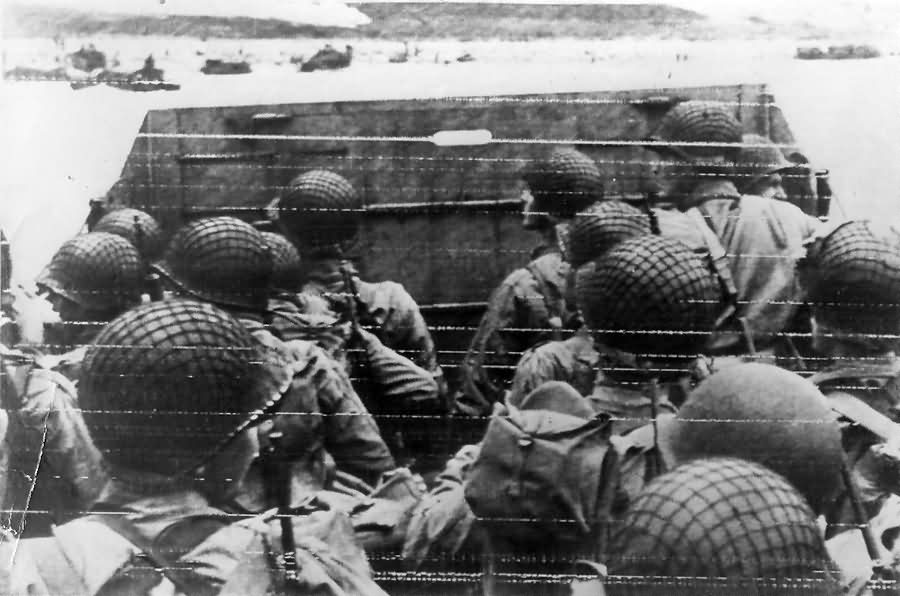GI's in LANDING CRAFT to Normandy Beach D-DAY +1 1944