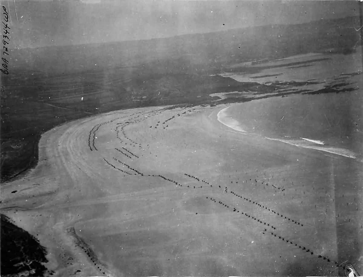 German Beach Defenses Set up along Cherbourg Peninsula 1944 Normandy