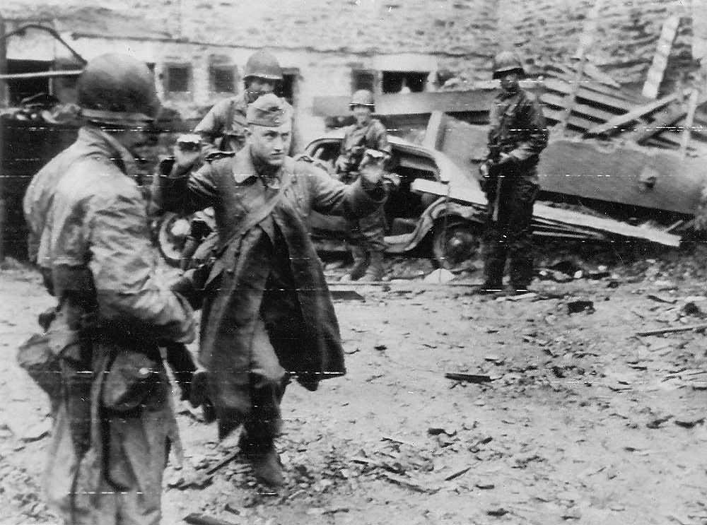 German Surrenders hands up in Cherbourg 1944