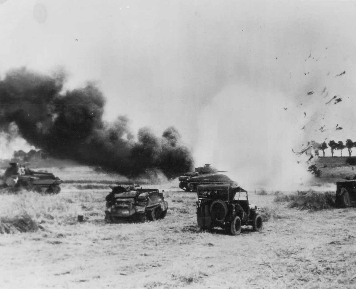 German mortar hits British truck Tilly Normandy 1944