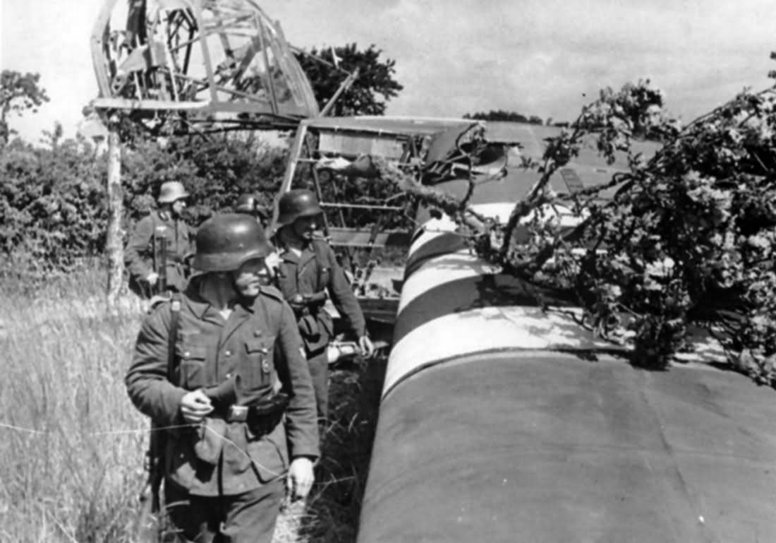 German troops examine an destroyed Waco CG-4 glider Normandy June 1944