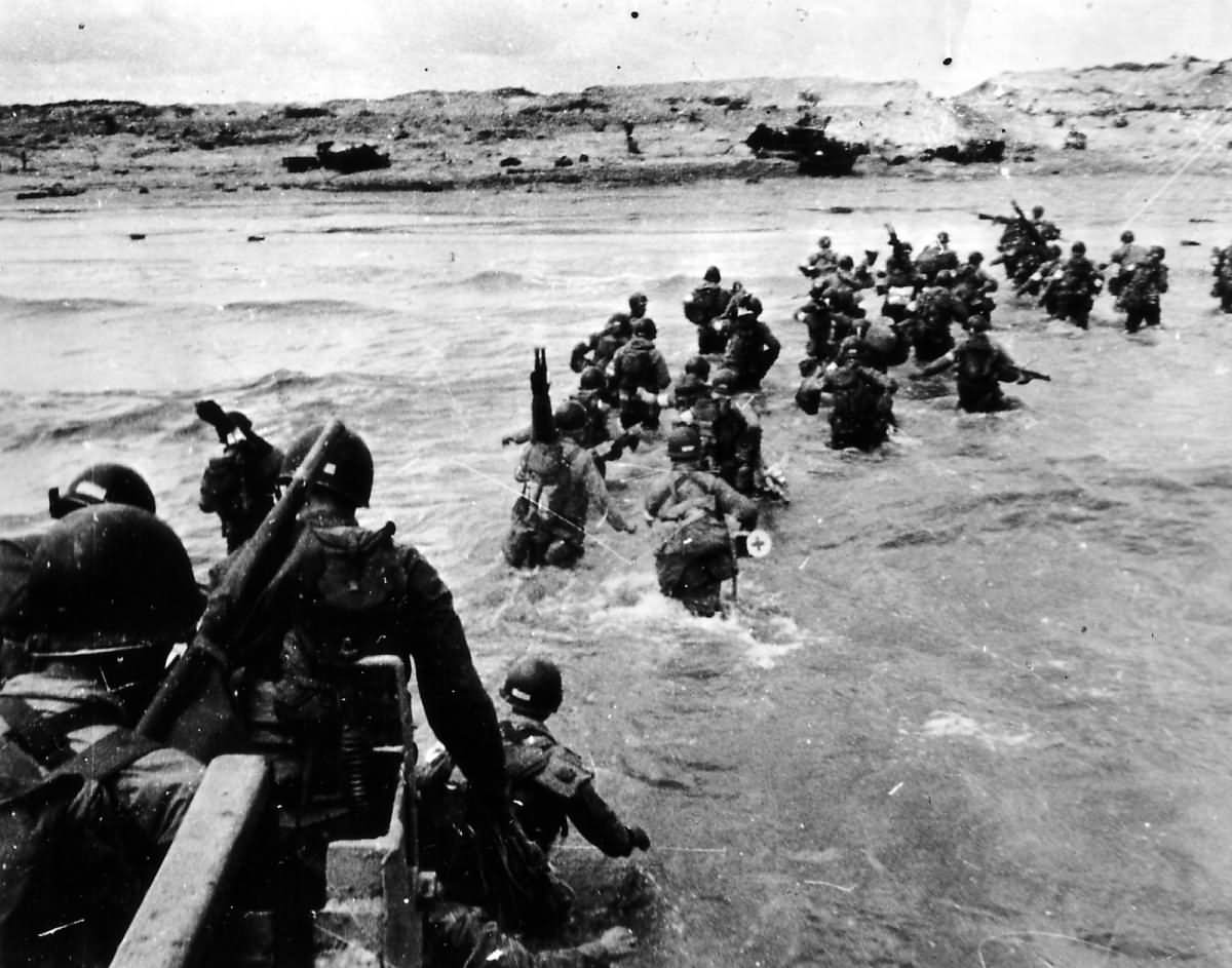Invasion of Normandy D-Day Troops Wading Through Water