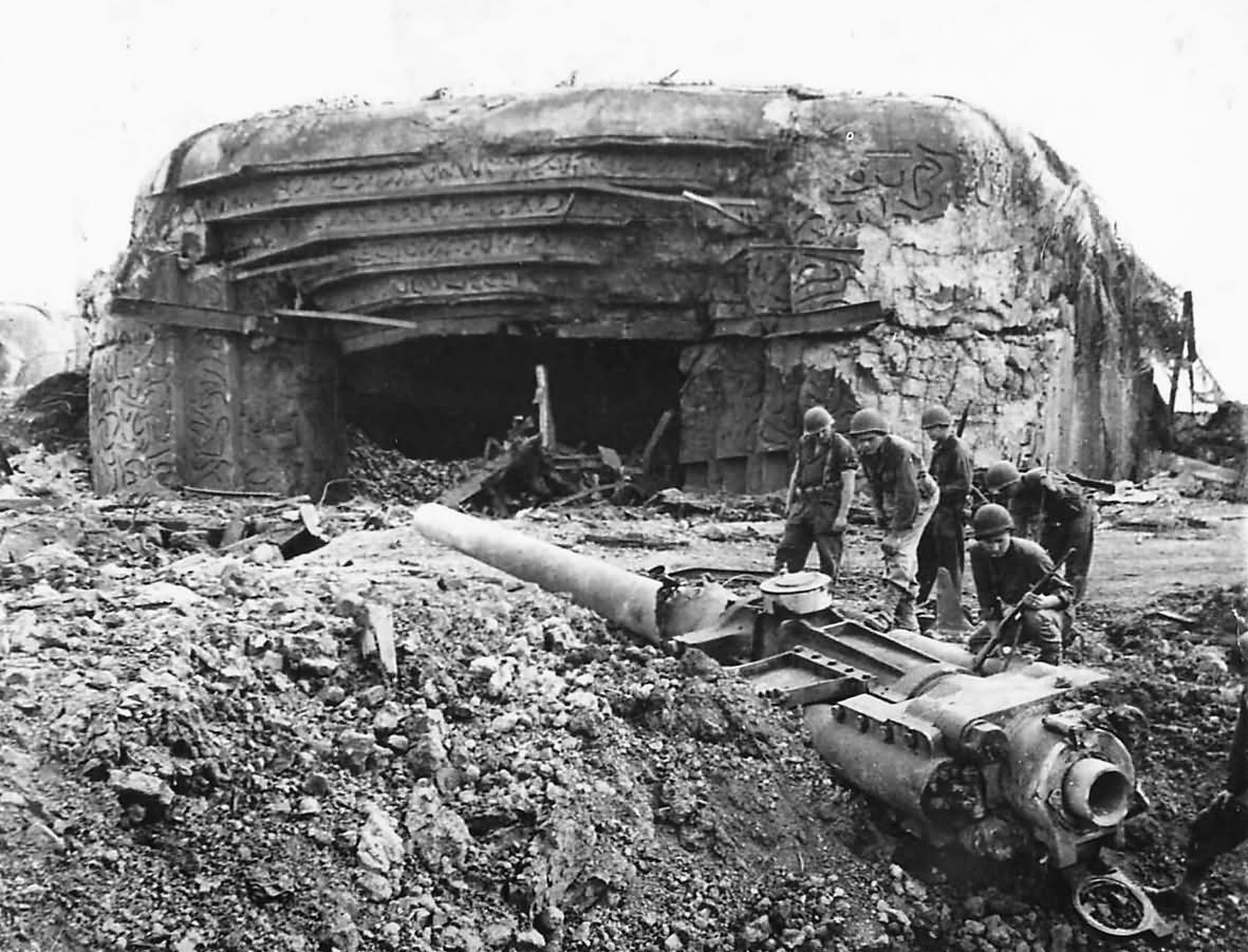 Knocked Out Crisbecq battery at Saint Marcouf Normandy 1944