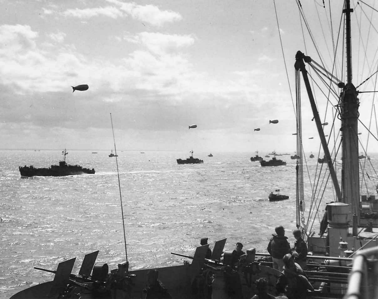 LCI Convoy and barrage balloons en route to D-Day Invasion