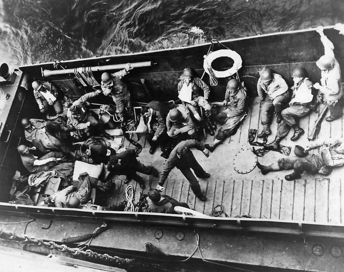 LCM Evacuating Casualties from D-Day Invasion Beach