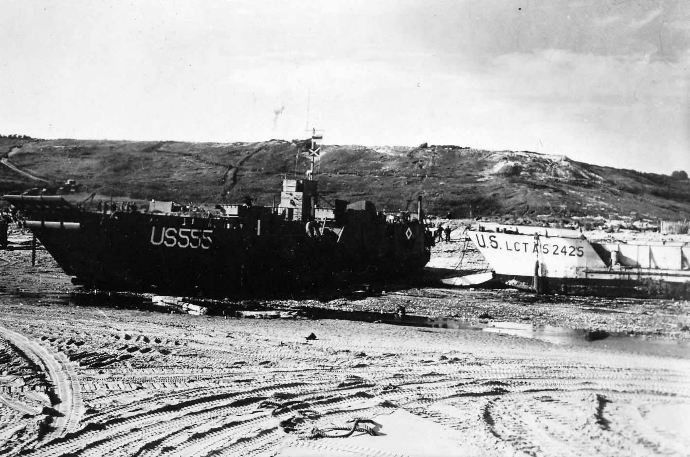 USS LCT-555 stuck on the beach Normandy Invasion
