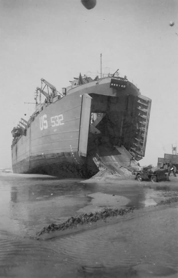 LST 532 Unloads Jeep On Omaha Beach D-Day Normandy 1944