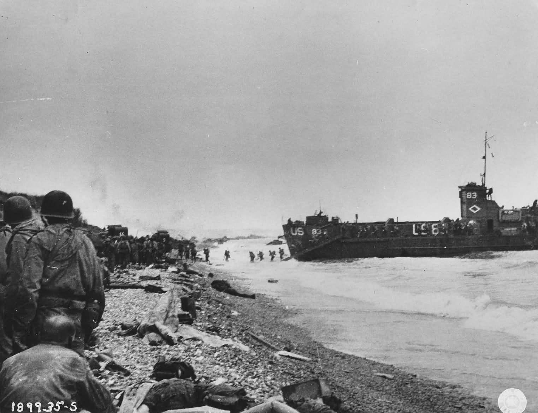 Landing craft at Normandy beach June 8 1944