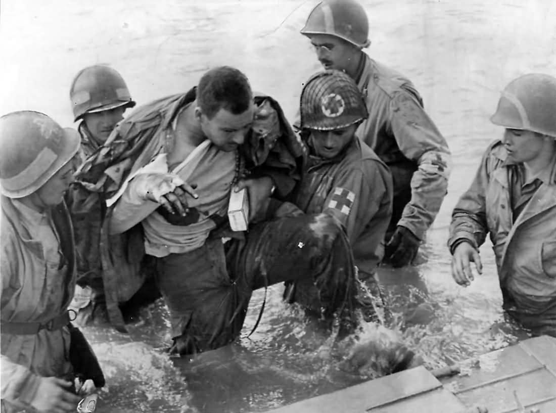 Medics Help Wounded US Paratrooper D-Day Beach 1944 Normandy