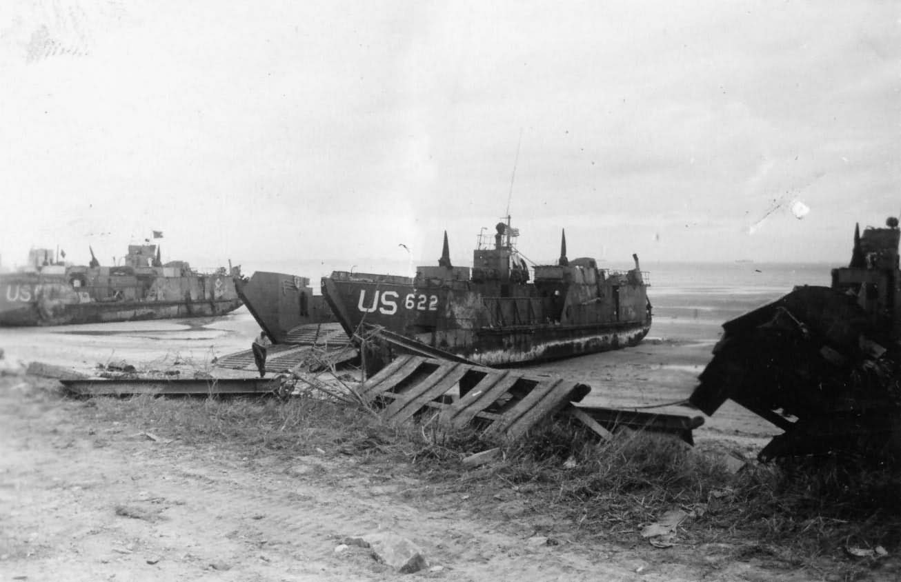 Landing Craft Tank LCT-622 Normandy June 1944, Ramp Down on Beach