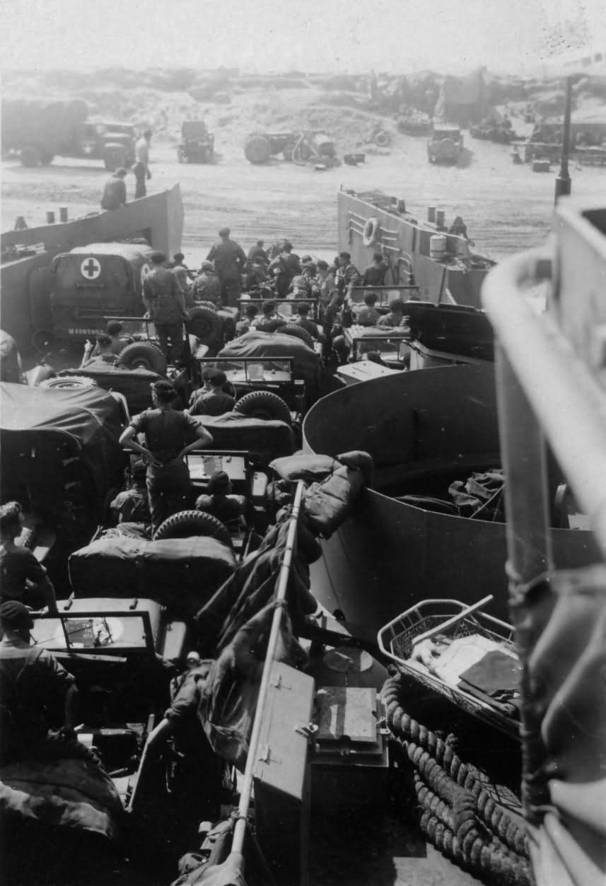 Normandy LST June 1944 Trucks and Jeeps