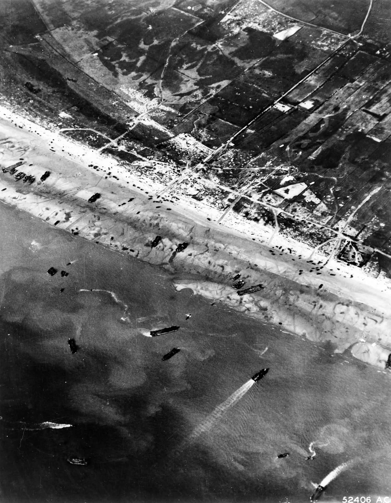 Normandy beach photographed from a plane