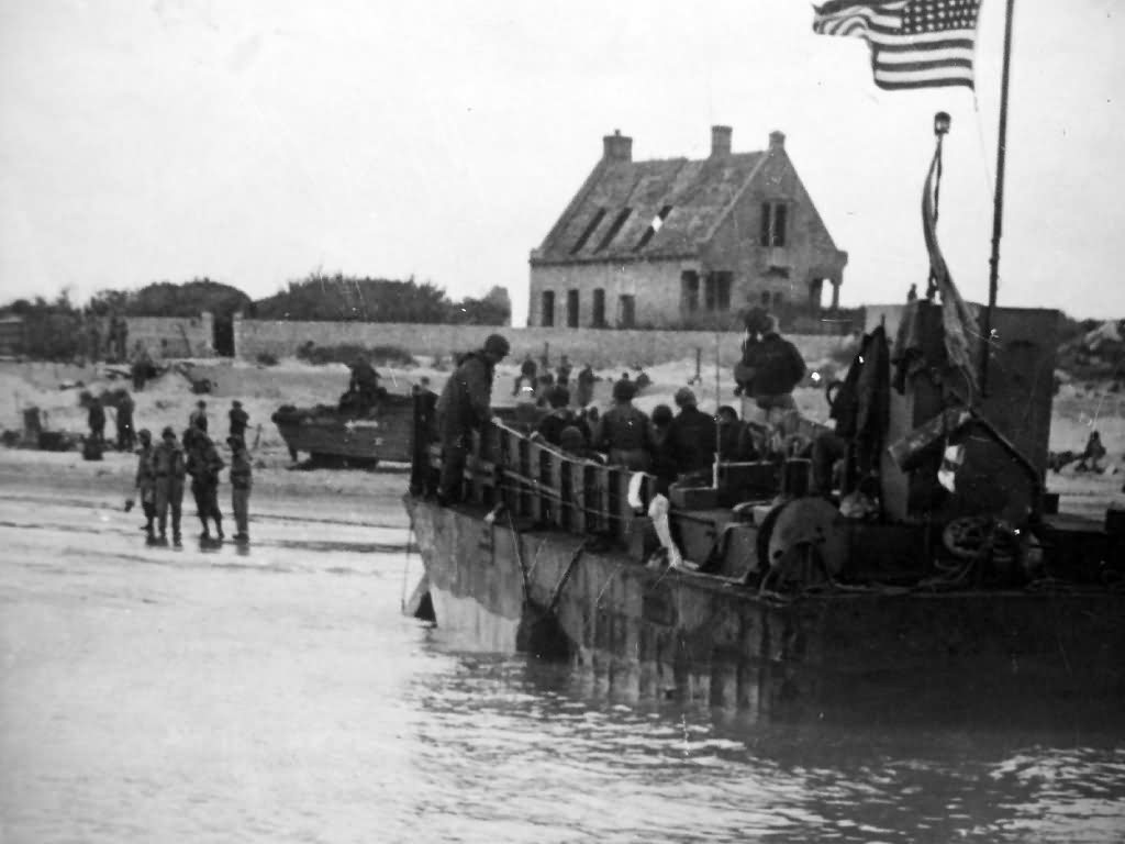 Normandy invasion D-Day US LST and Soldiers