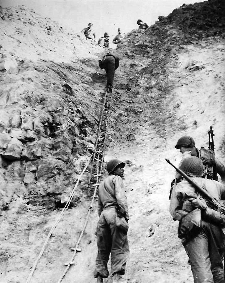 Rangers with ladders used to storm cliffs at Pointe du Hoc