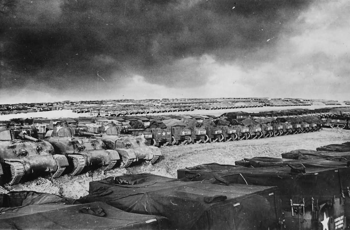 Rows of US Tanks And Halftracks In England Before D-Day Invasion 1944