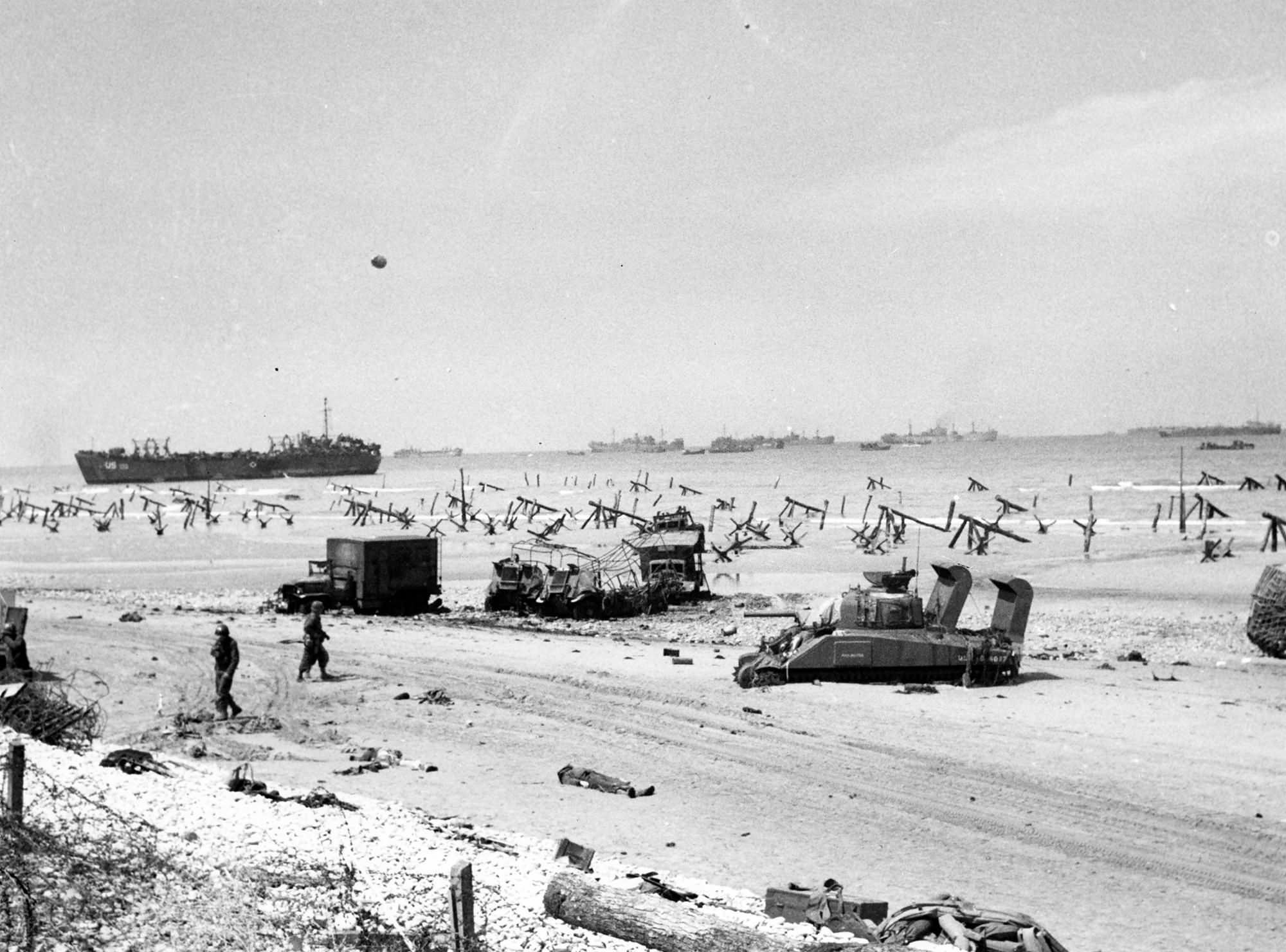 Scene on Omaha Beach on the afternoon of D-Day
