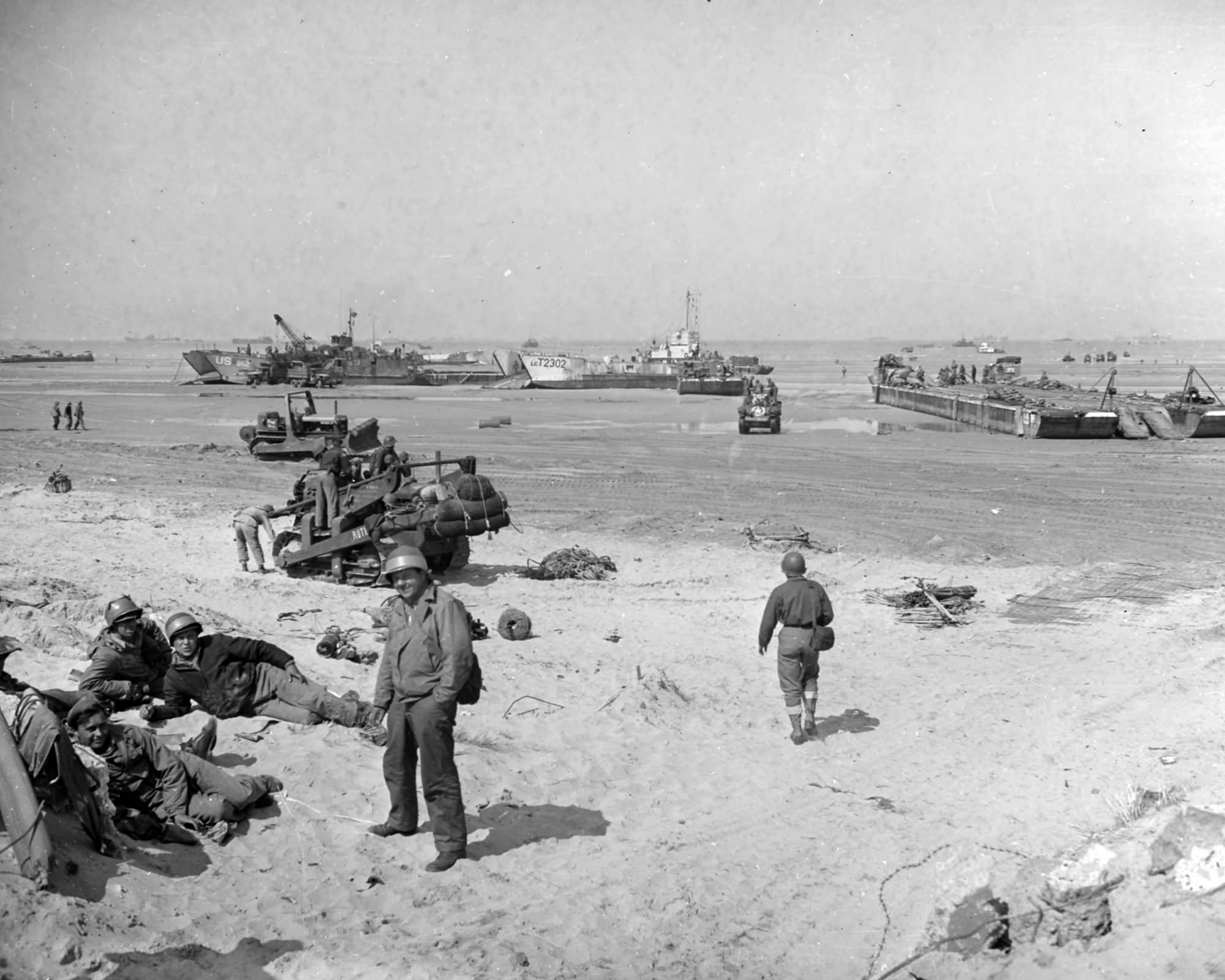 Scene on one of the invasion beache during force buildup operations in June 1944