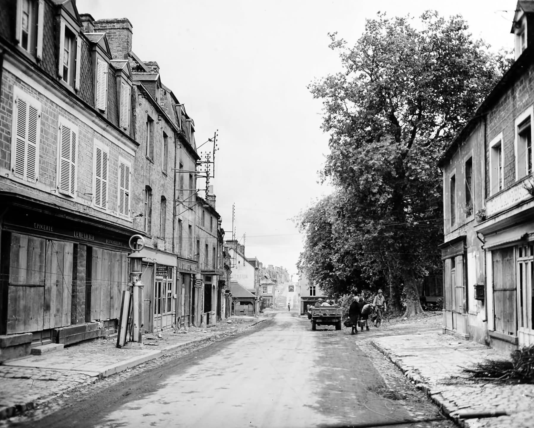 Street scene in Sainte-Mère-Église inland from Utah Beach on 10 June 1944