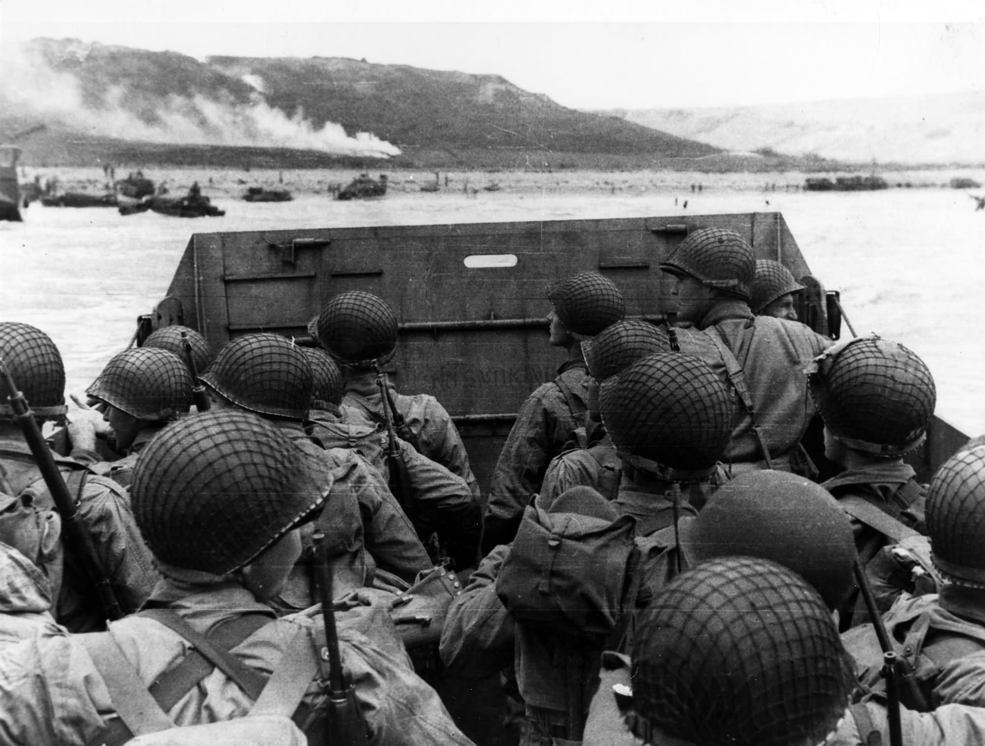 Troops in an LCVP landing craft approaching Omaha Beach on D Day 6 June 1944