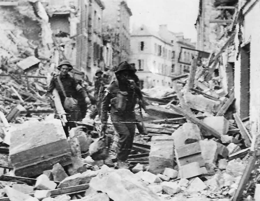 Troops of I Corps Amid Rubble of Caen in Operation Charwood 1944 Normandy