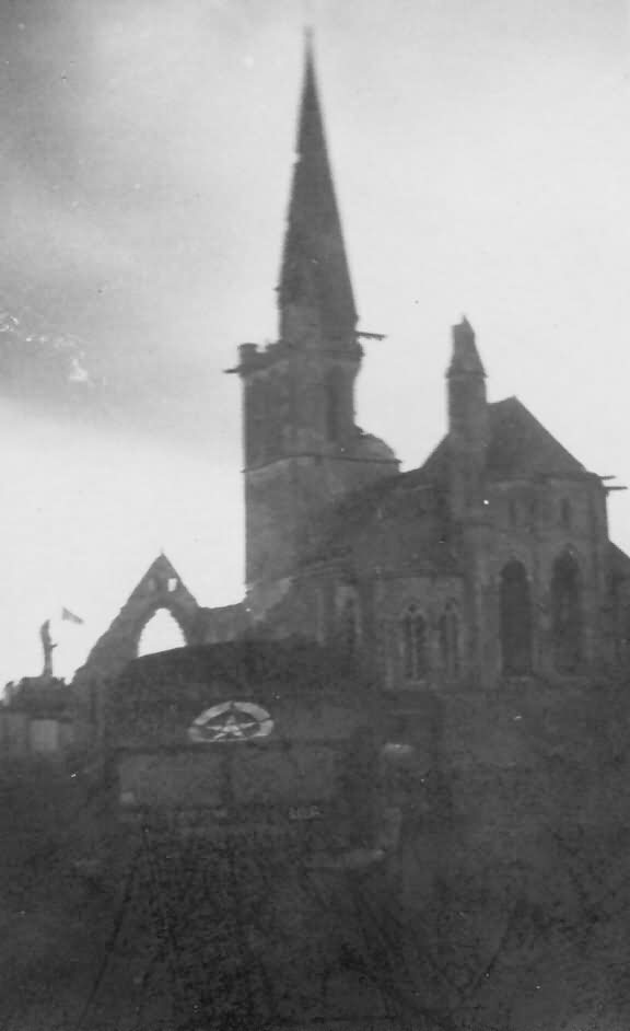 Truck And Bombed Church Near Vierville Normandy June 1944