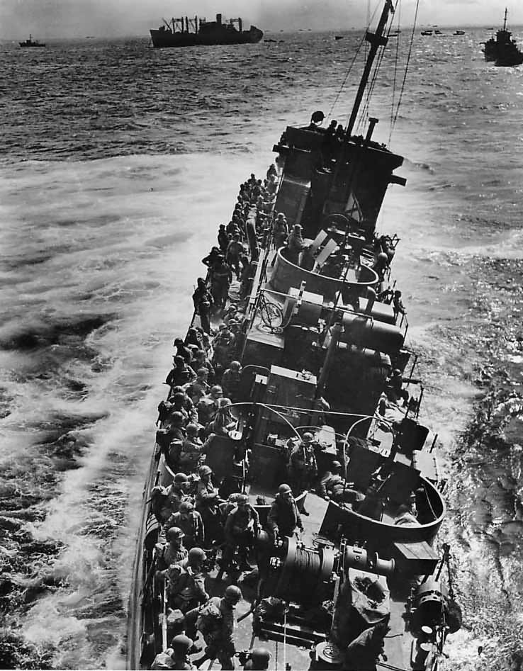 USS LCI(L)-85 just before sinking off Omaha Beach on D-Day