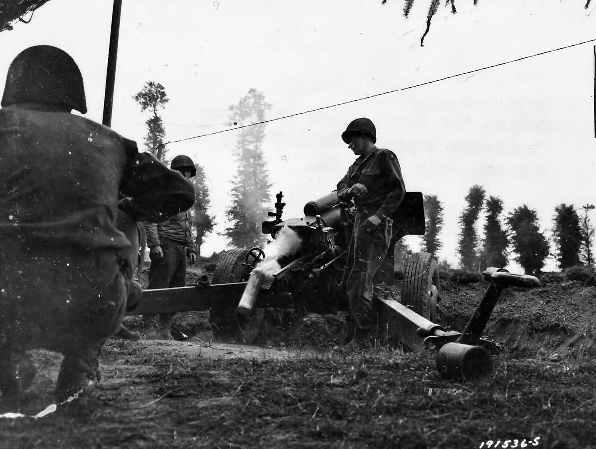US 105 mm Howitzer Crew in Action Normandy July 1944
