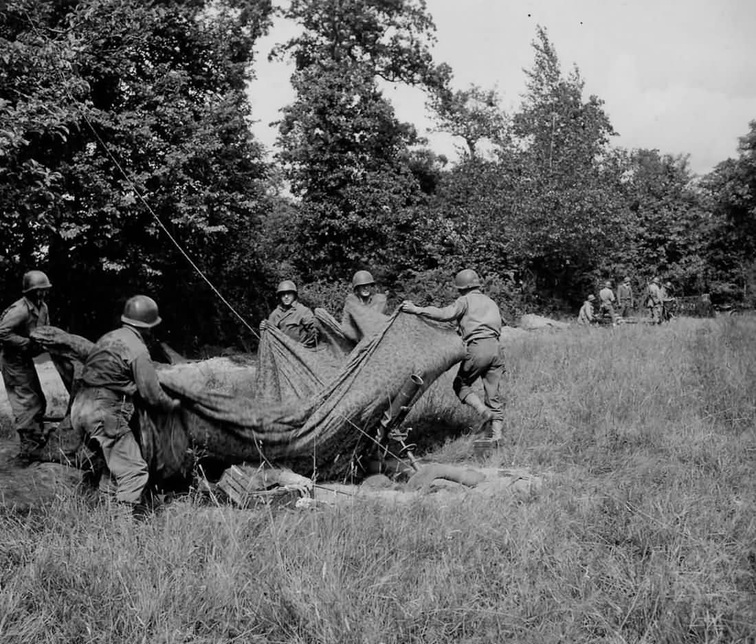 US 4.2 Inch Mortar in Action Carrefour de Chemins Normandy France 1944
