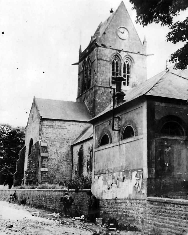 US 82nd Airborne Troops by Church in Sainte-Mère-Église Normandy