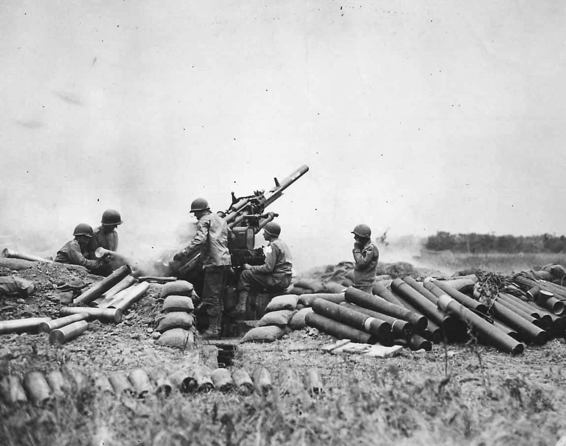 US M2 90 mm Gun Crew in Action near Vierville-sur-Mer Normandy