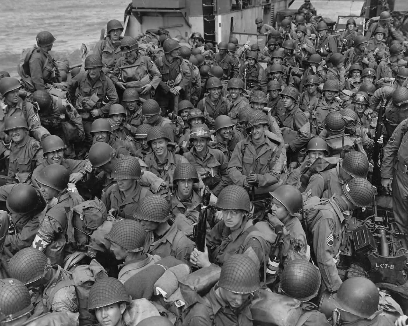 US Army GI's On LCI Landing Craft For D-Day Invasion Normandy June 1944