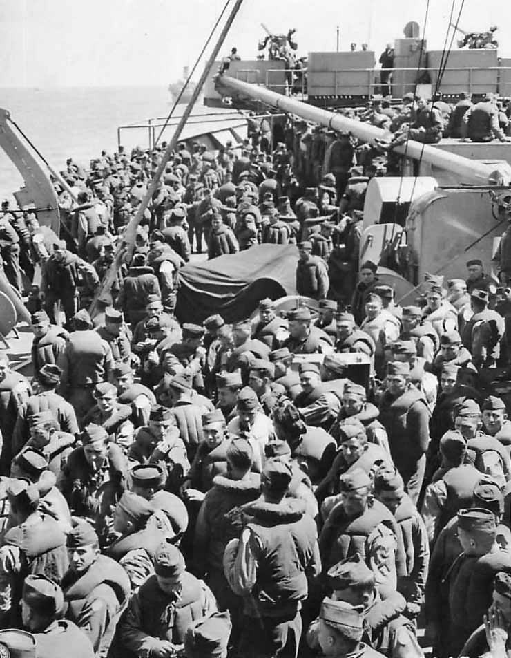 US Army reinforcements crossing English Channel to Normandy