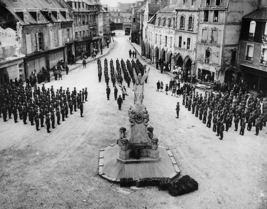 US Troops Parade in City Square of Carentan France Normandy 1944